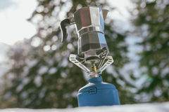 Camping gas stove and coffee maker Stock Photography