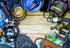 Camping gear, arranged in a frame. Royalty Free Stock Photo