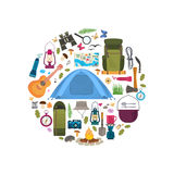 Camping gear collection. Stock Image