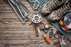 Camping gear on a table royalty free stock photos