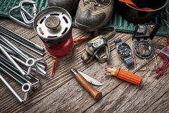 Camping gear on a table royalty free stock images