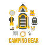 Camping Gear. Tourism equipment. River boat trip web elements.  Stock Photos