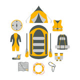 Camping Gear. Tourism equipment. River boat trip web elements.  Stock Image