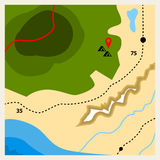 Camping geographic map. With pin Royalty Free Stock Photos