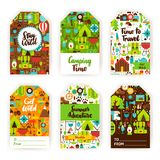 Camping Gift Tag Set. Flat Design Vector Illustration of Brand Identity stock illustration