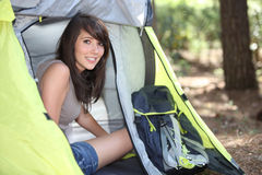 Camping Girl Stock Photo