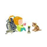 Camping girl drinks tea Royalty Free Stock Image