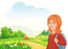 Camping girl. Illustration of a girl camping Stock Image