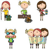 Camping Girls Stock Images