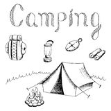 Camping graphic art black white isolated illustration Stock Images