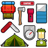 Camping graphics. Set of camping equipment graphics and icons Stock Photo