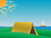Camping on a grassy hill near lake daytime vector Stock Photo
