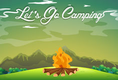 Camping ground with campfire in the field. Illustration Royalty Free Stock Photos
