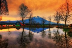 camping ground and Mount Fuji at sunrise royalty free stock photography