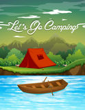 Camping ground with tent and boat Royalty Free Stock Photos