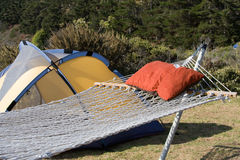 Camping and Hammock. Relaxing at a spacious campsite with a hammock stock photography