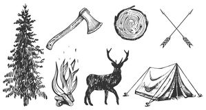 Camping hand drawn stickers set. Vector illustration of hand drawn forest camping vacation objects set: spruce, ax, camp bonfire, deer silhouette, wood cut Royalty Free Stock Photos