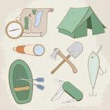 Camping hand drawn vector icons Royalty Free Stock Photos