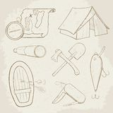 Camping hand drawn vector icons Royalty Free Stock Images