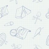 Camping hand drawn vector seamless pattern Stock Image