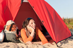 Camping happy woman relax tent on beach Stock Images