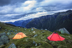 Camping in harsh Norway Royalty Free Stock Image