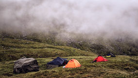Camping in harsh Norway. Bad weather royalty free stock image