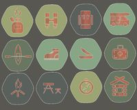 Camping hexagon icons. Red marks on the green Royalty Free Stock Photography