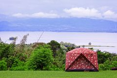 Camping on high mountain with sky in background Stock Photography