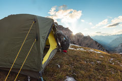 Camping in high mountains Royalty Free Stock Photo