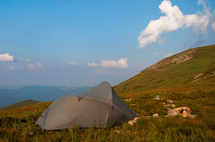 Camping in high mountains Stock Photos