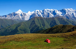 Camping in high mountains Royalty Free Stock Image