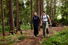 Camping Hike Couple. A couple on a hiking camping trip in the forest stock photos