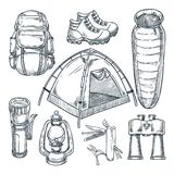 Camping hike items set. Vector hand drawn sketch illustration. Camp stuff design elements isolated on white background vector illustration