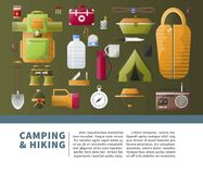 Summer camping and hiking vector poster. Camping and hiking accessories for scout camp adventure poster. Vector camp tent and sleeping bag, matches for campfire Royalty Free Stock Photography