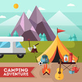 Camping Hiking Adventure Flat Background Poster royalty free illustration