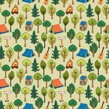 Camping and hiking background seamless pattern. Of tents in a forest of trees with camp fires  rucksacks  backpacks  guitars and trail markers  vector Stock Images