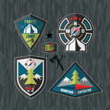 Camping and hiking badges. Tourism emblem in flat style Royalty Free Stock Photo