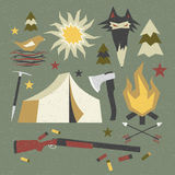 Camping and hiking elements with shabby texture. Design elements in a flat style with shabby texture Stock Photos