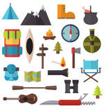 Camping and hiking equipment Stock Photos