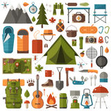 Camping and Hiking Equipment Set Royalty Free Stock Photography