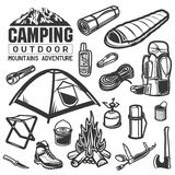 Camping and hiking equipment symbols  Stock Photos