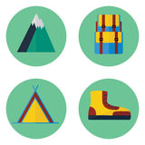 Camping and hiking flat icon set. Contains backpack, mountain, tent, boot Stock Photography