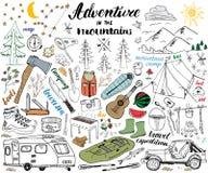 Camping, Hiking Hand Drawn sketch set vector illustration. Royalty Free Stock Photography