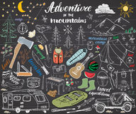 Camping, Hiking Hand Drawn sketch set vector illustration on chalkboard Royalty Free Stock Photos