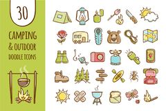 Camping and hiking icon collection. Camping and hiking equipment icons. Collection of 30 forest and camping elements in hand drawn style. Vector isolated on Stock Photo
