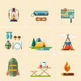 Camping and Hiking Icons. Flat Design Stock Photography
