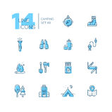 Camping and Hiking - line icons set Stock Image