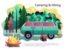 Camping Hiking Poster. Camping hiking holiday adventure poster with open fire recreational vehicle and forest in background abstract vector illustration Stock Image