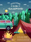 Camping Hiking Poster. Camping site advertisement poster with recreational vehicle open fire tent in forest night sky abstract vector illustration Stock Photo